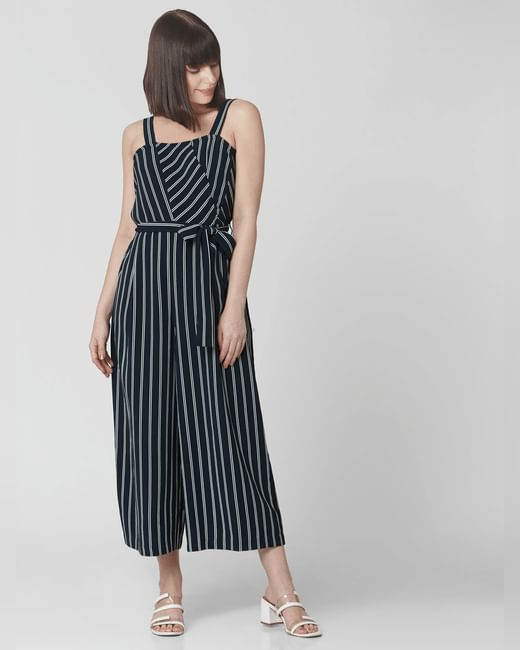 Navy Blue Striped Belted Jumpsuit