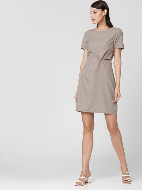 Brown Ruching Detail Shift Dress