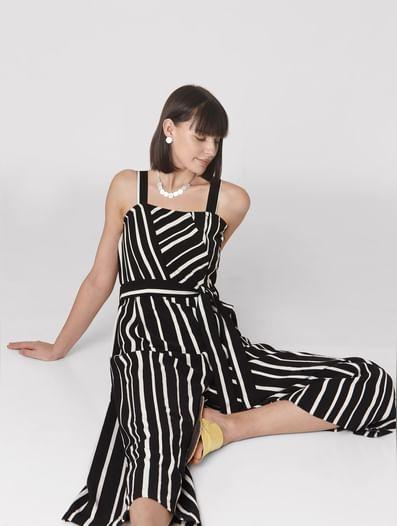 Black Striped Flared Leg Jumpsuit