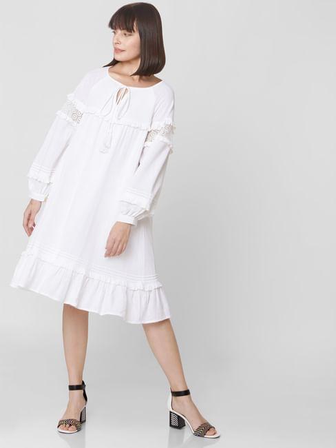 White Schiffli Ruffled Shift Dress