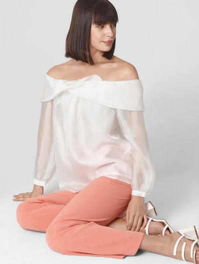 White Sheer Off-Shoulder Top