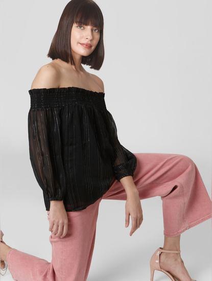 Black Striped Off-Shoulder Top