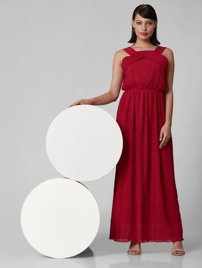 Dark Red Self-Design Maxi Dress