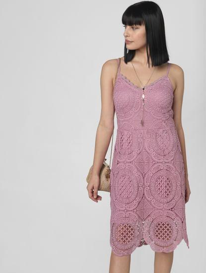Purple Lace Fit & Flare Dress