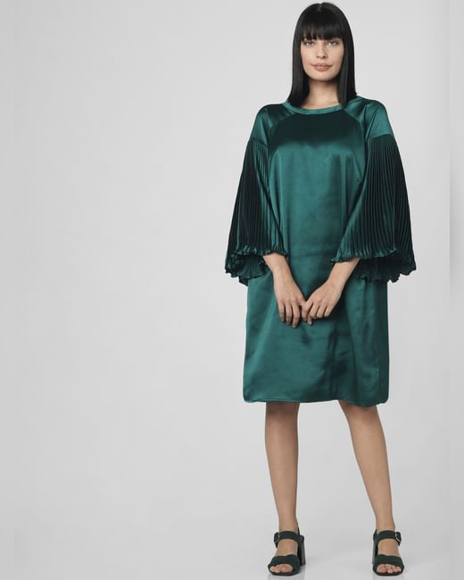 Dark Green Pleated Sleeves Shift Dress