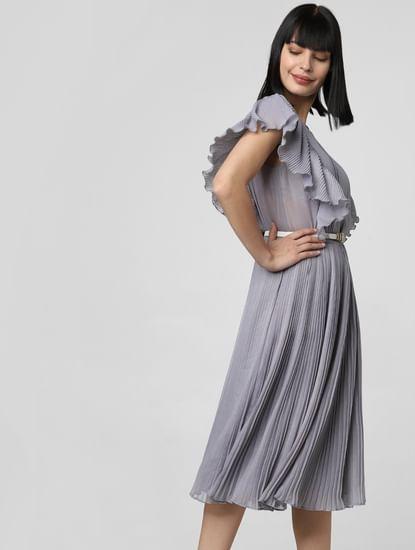Grey Pleated Sheer Midi Dress