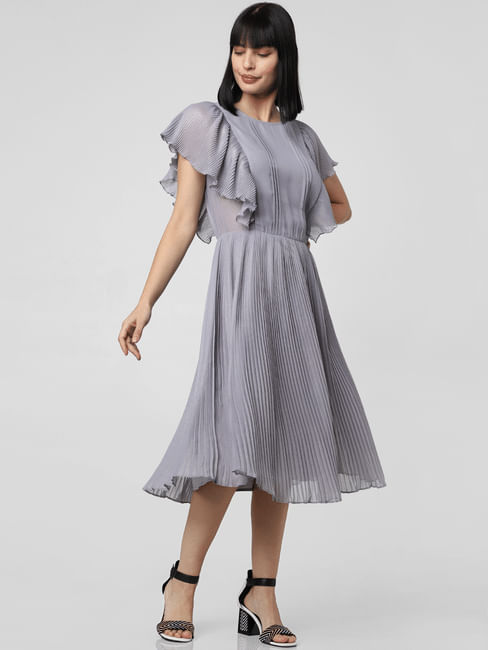 Grey Pleated Sheer Midi Dress