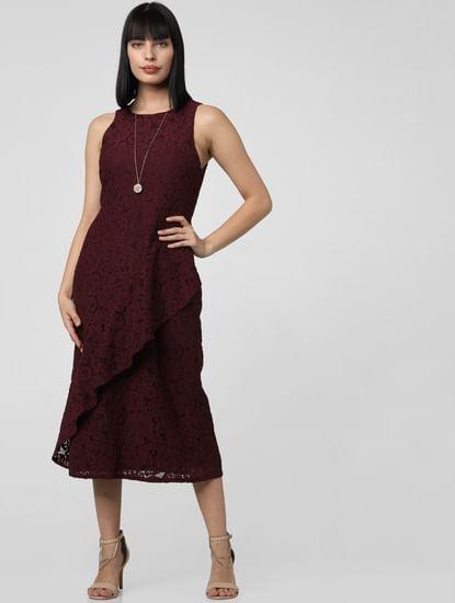 Burgundy Lace Flounce Midi Dress