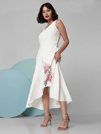 White Floral Asymmetric Flounce Hem Dress