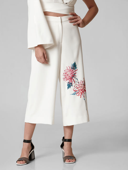 White High Rise Floral Culottes