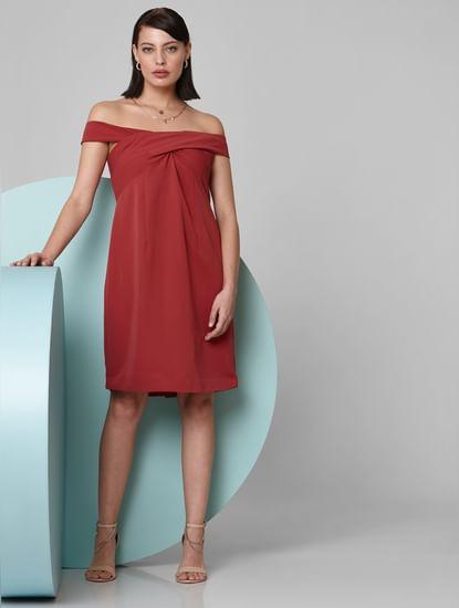 Rust Off-Shoulder Shift Dress