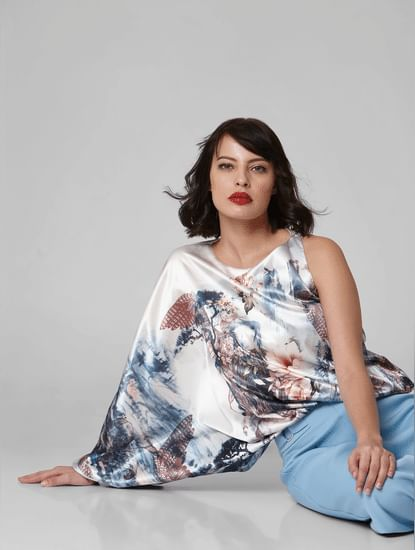 White All Over Print One-Shoulder Top