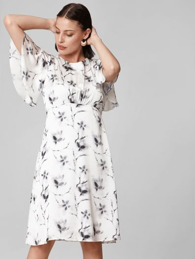 Printed Bell Sleeves Fit & Flare Dress