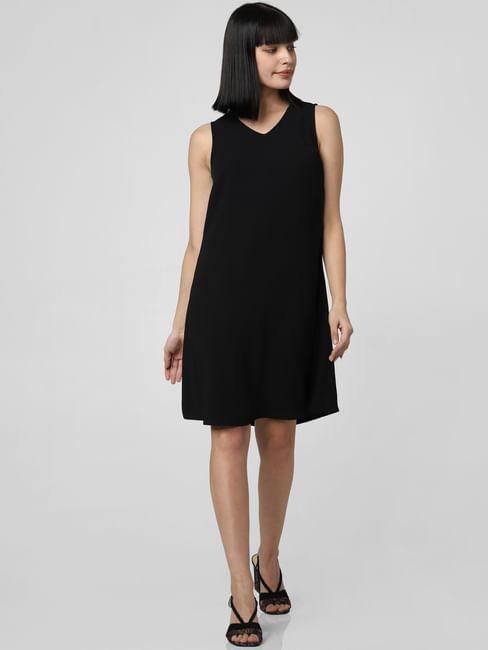 Black Embellished Detail Shift Dress