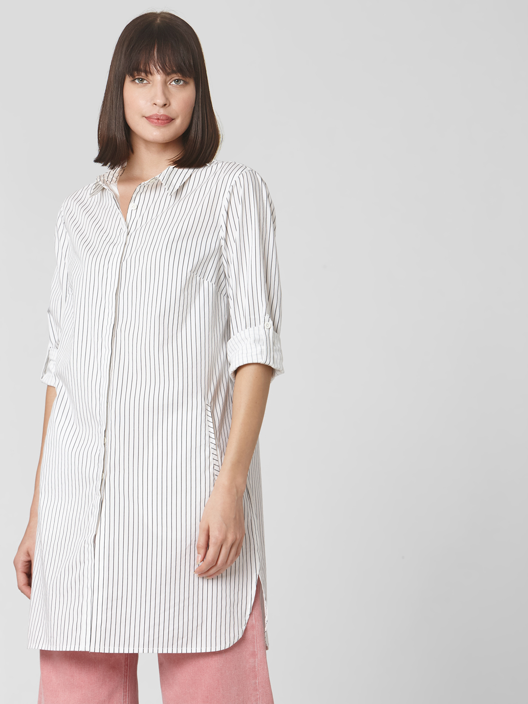 White Striped Long Shirt