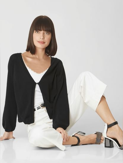 Black Front Open Cardigan
