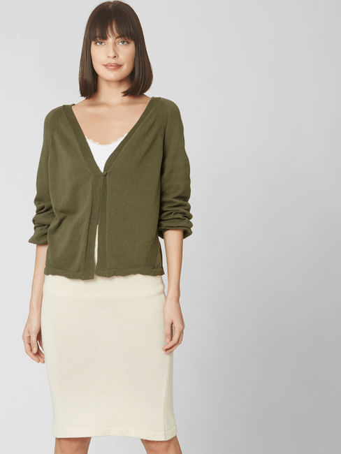 Green Front Open Cardigan