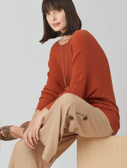 Brown Batwing Shoulder Sweater