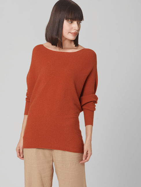 Brown Batwing Shoulder Sweater