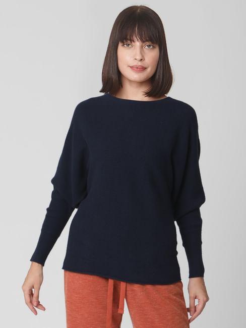 Navy Blue Batwing Shoulder Sweater