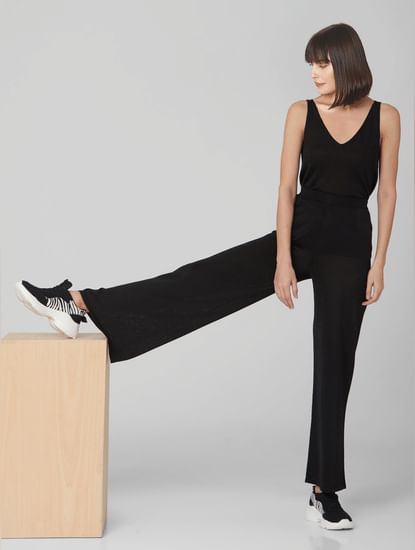 Black High Rise Shimmer Flared Pants