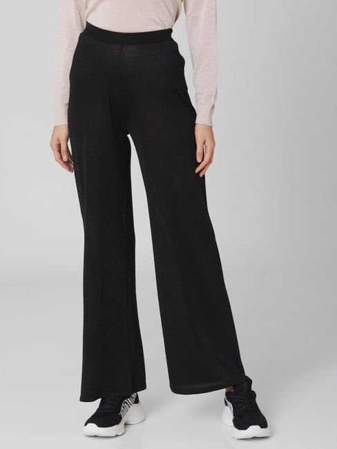 Black High Rise Shimmer Flared Pants