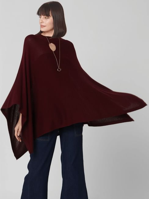 Burgundy Loose Fit Poncho
