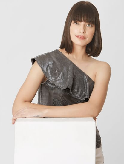 Silver Ruffled One Shoulder Top