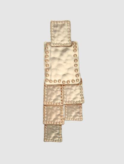 Golden Self-Design Drop Earrings