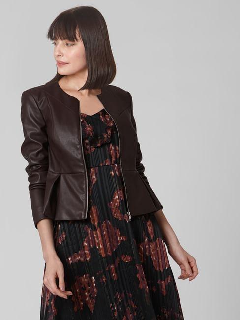 Chocolate Brown Peplum PPU Jacket