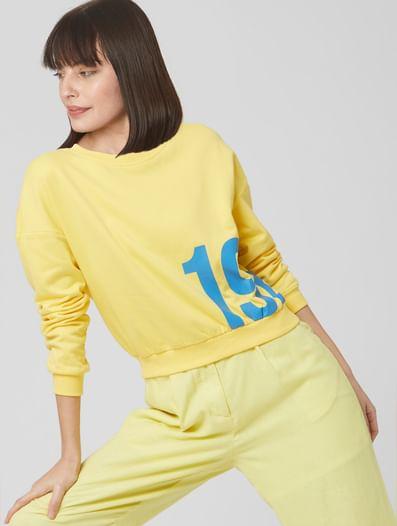 Yellow Numeric Print Cropped Sweatshirt