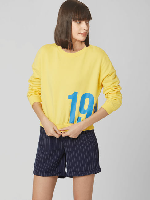 Yellow Numeric Print Cropped Sweatshirt
