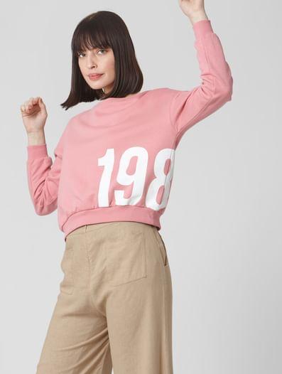 Pink Numeric Print Cropped Sweatshirt
