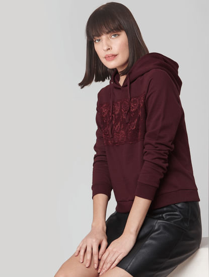 Burgundy Lace Hooded Sweatshirt