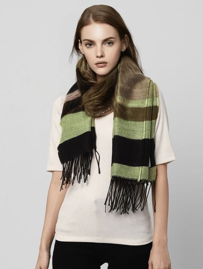 Green Colourblocked Long Scarf