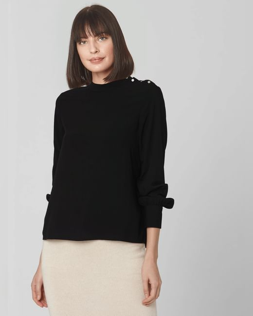 Black Studded Cuff Sleeved Top