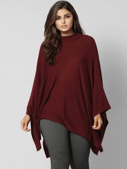 Curve Burgundy Loose Fit Poncho