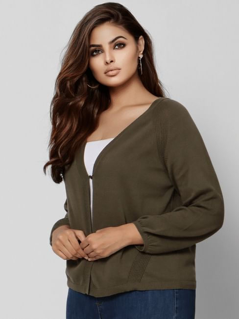 Curve Dark Green Front Open Cardigan