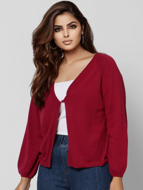 Curve Maroon Front Open Cardigan