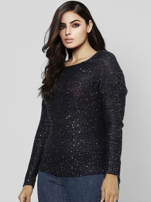 Navy Blue Embellished Sweater