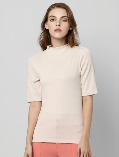 Cream Fitted High Neck Top