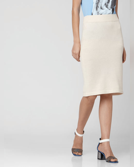 Off-White High Rise Knit Pencil Skirt