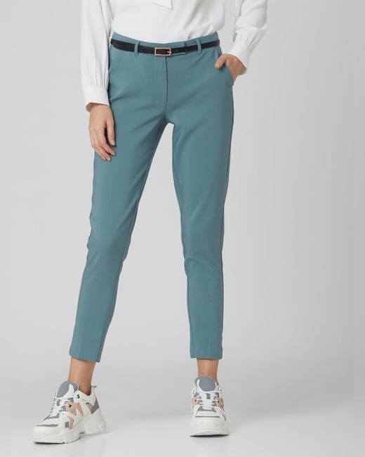 Blue Mid Rise Slim Trousers