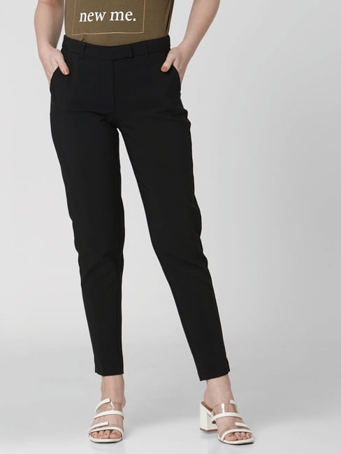 Black Mid Rise Slim Trousers