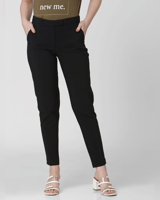 Black Mid Rise Slim Trousers