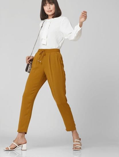 Brown Mid Rise Elasticated Waist Pants