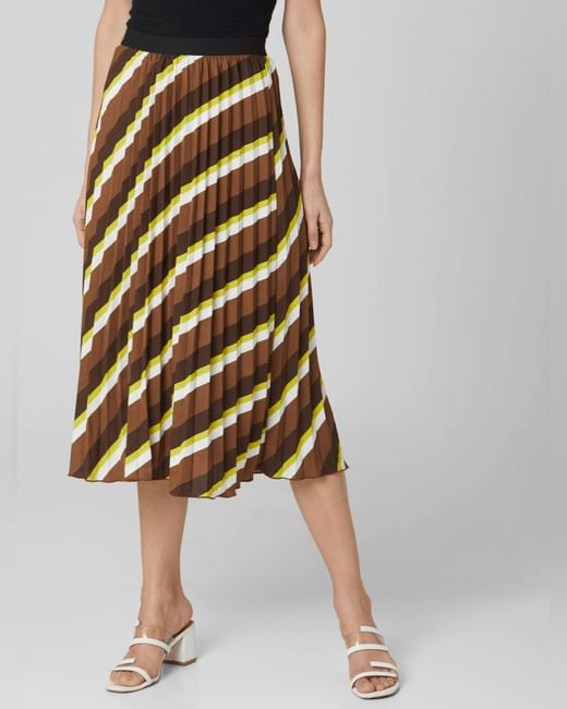 Brown High Rise Pleated Skirt