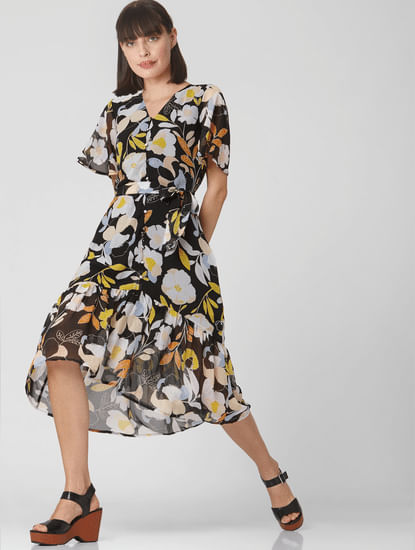 Multi-Coloured Floral Midi Dress