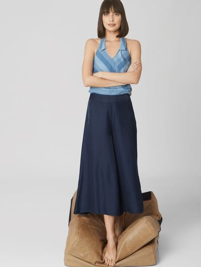 Navy Blue High Rise Wide Leg Pants