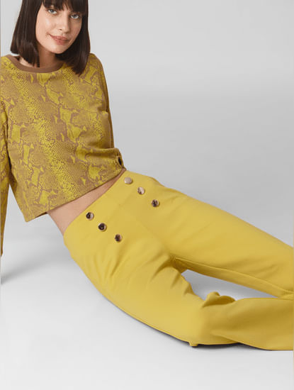 Yellow Mid Rise Boot Cut Pants